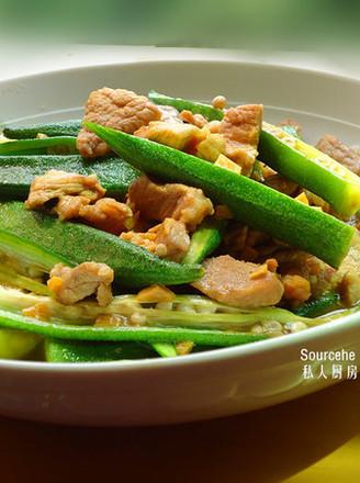 蒜蓉秋葵炒肉的做法