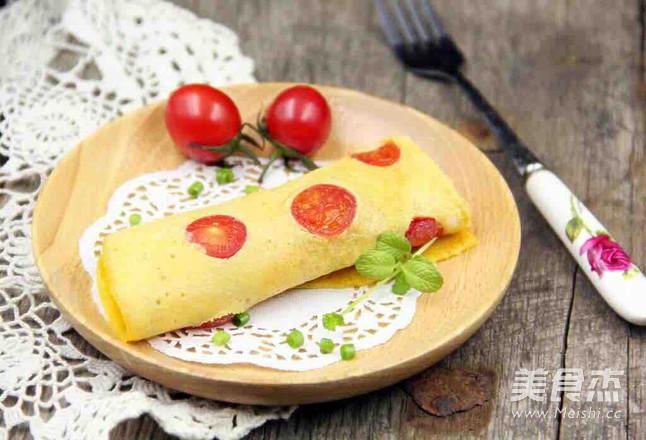 小西红柿鸡蛋饼的做法_家常小西红柿鸡蛋饼的