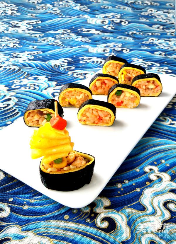 蛋包饭寿司卷的做法_家常蛋包饭寿司卷的做法
