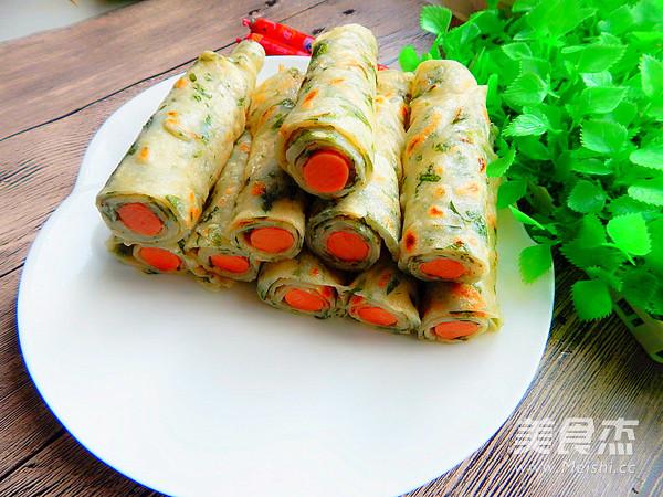 芹菜叶卷火腿饼的做法
