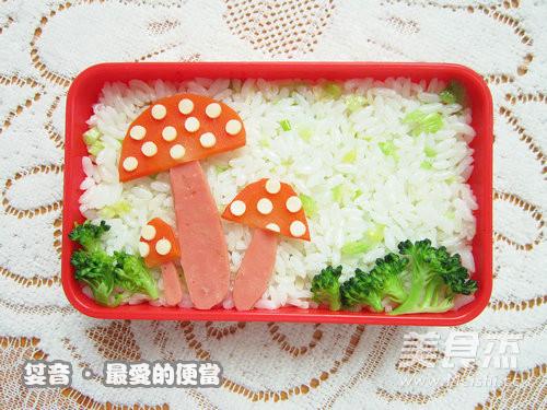 卡通蘑菇可爱便当的做法