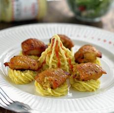 沙拉咖喱鸡翅配土豆泥